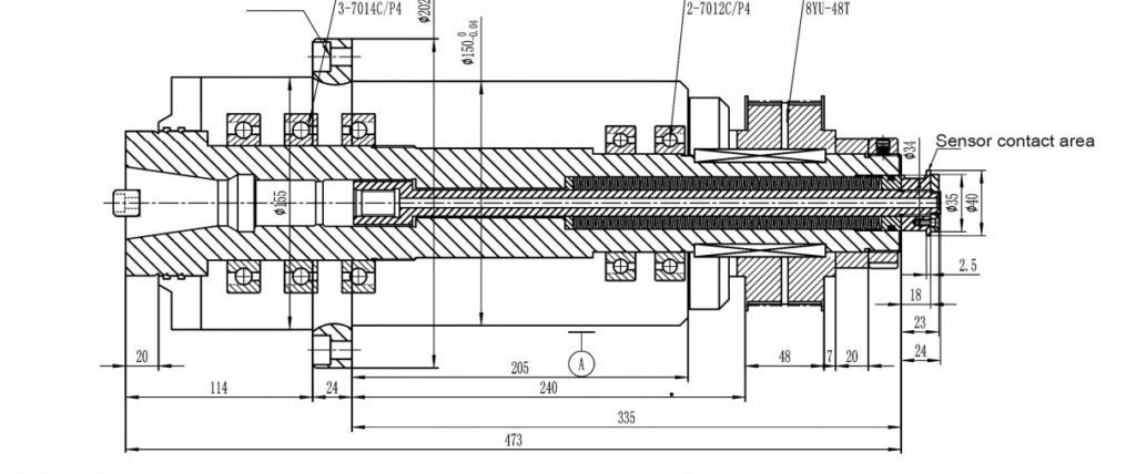 ISO40 belt spindle drawing