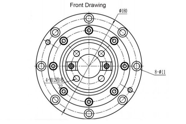 Belt spindle ISO40 front drawing